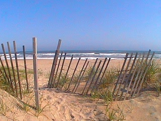 View of Outer Banks oceanfront with sand fence along a path